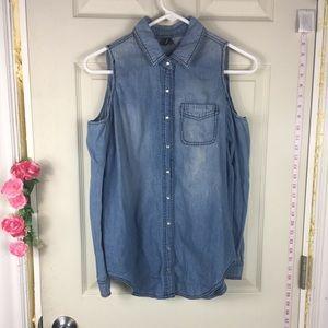 ❤️5/25$❤️Highway Jeans Top shoulder cut size S